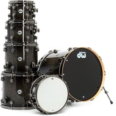 DW Collector's Series Exotic 6-Piece Kit - Birds Eye Maple in Grey Stain and Candy Black Burst | Sweetwater.com