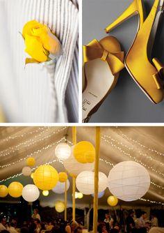 Lanterne chinoise, chaussures jaunes et rappel pochette Yellow Wedding Colors, Yellow Grey Weddings, Yellow Theme, Wedding Color Schemes, Wedding Book, Wedding Day, Wedding Flowers, Color Box, Wedding Places