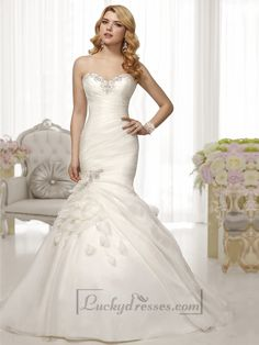 Trumpet Mermaid Beaded Sweetheart Pleated Bodice Wedding Dresses Sale On LuckyDresses.com With Top Quality And Discount