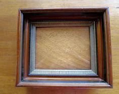 Antique Victorian Frame Striped Gilt Accent  Deep Walnut Wood