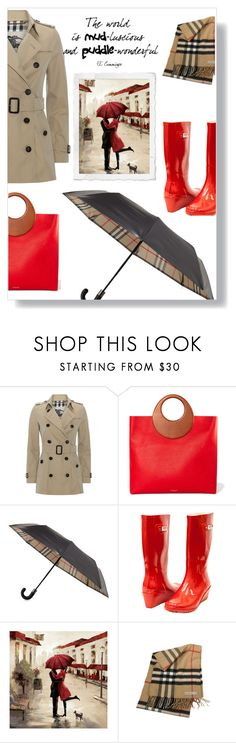 """""""Mud-luscious"""" by onenakedewe ❤ liked on Polyvore featuring Burberry, Michael Kors, Forever Young, umbrella, rainboots, raincoat, rainwear and rainfashion"""
