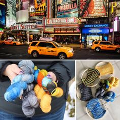 """According to Encyclopaedia Brittanica, """"Broadway, New York City [is a] thoroughfare that traverses the length of Manhattan, near the middle of which are clustered the theatres that have long made it the foremost showcase of commercial stage entertainment in the United States. The term Broadway is virtually synonymous with American theatrical activity."""" Capturing the colours was a fun and intriguing dye session for us where we drew inspiration from our photo. Included in your kit is 4 skeins… New York Night, Fingering Yarn, Stockinette, Ravelry, New York City, Shawl, Times Square, Broadway, Arch"""