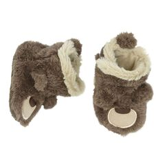 Baby Boy Carter's Brown Bear Slipper Crib Shoes, Size: 6-12MONTHS