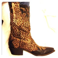 Vintage Boots- Will consider trade- $550 MSRP Coming to you all the way from the Karla del Monaco Boutique at Ceasars Palace in Vegas, here is the most incredible pair of leopard skin boots I have ever personally seen.  Though Karla's boutique is no longer open, she is still referred to as the 'shoe stylist of the stars'. Excellent Condition-Size is 7N, but they fit a 6.5 too. Willing to trade for item of similar value. Vintage Karla Del Monaco Shoes