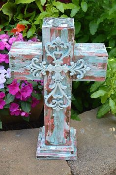 Chunky Painted Wood Cross Aqua White Coral Rustic Distressed with Metal Cross Embellishment on Etsy, $45.00