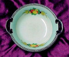 "Fruits Blue Border Noritake Bowl Keepsake Jams Jellies Chutney Marked ""M"" #Noritake"
