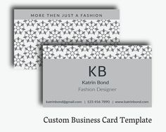 Business Card Template, Calling Cards, Custom Business Cards, Unique Business Card Template, Business Card Design, Gray Business Card