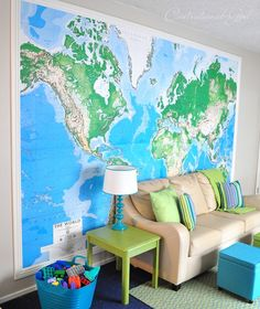Art Giant world map? Giant world map! home-styling Framed World Map, World Map Mural, Map Wallpaper, Wall Maps, Wall Mural, Up House, Interior Exterior, Kid Spaces, Family Room
