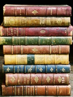 Beautiful antique leather-bound books