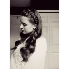 Headband Dutch braid with curls Hairstyles ❤ liked on Polyvore featuring accessories, hair accessories, hair, braided headband, braided hairband, hair bands accessories, head wrap hair accessories and woven headbands