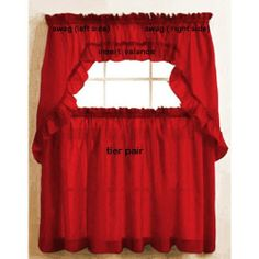 Stacey Ruffled Valance Red by The_Curtain_Shop. $7.99. Made in USA. Insert Valance. Regular rod pocket. Very well made balloon valance 60x19. Save 43%!