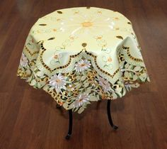 Yellow, Embroidered Cutout Table Topper, 33.5 Inches, Great Gift or Decor Item Linen and Gifts http://www.amazon.com/dp/B006L9F4QE/ref=cm_sw_r_pi_dp_7NoFub10C02QD