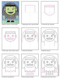 Frankenstein Drawing · Art Projects for Kids Halloween Art Projects, Halloween Drawings, Theme Halloween, Halloween Activities, Art Activities, Projects For Kids, Happy Halloween, Halloween Rocks, Halloween Carnival