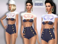 Sims 4 CC's - The Best: Urban Denim Swimwear by Puresim