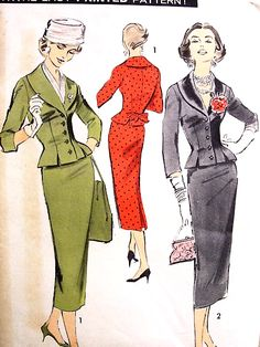 1950s ELEGANT fitted Slim Skirt SUIT Pattern ADVANCE 8258 Beautiful Fitted Jacket Day or Evening Bust 36 Vintage Sewing Pattern FACTORY FOLDED