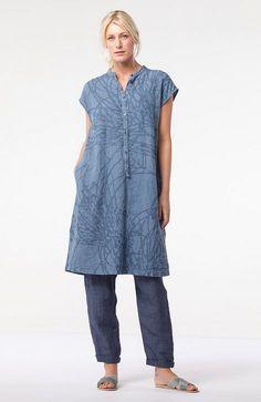 Subtle pinstripes on linen trousers at OSKA New York.