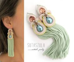 Excited to share the latest addition to my shop: Celadon Green tassel earrings, mint Mexican e Green Tassel Earrings, Denim Earrings, Emerald Green Earrings, Soutache Earrings, Tassel Jewelry, Crystal Earrings, Stud Earrings, Craft Jewelry, Jewellery