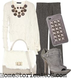 Dressy fall outfit - gray slacks, white blouse, silver/gray accessories.