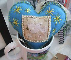 Blue Hand made Fabric Heart, dove, beads, starts Valentine or anytime by Anita £5