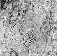 Addaura cave Italy. aboput 11,500 BCE The best known panel of rock carvings at Addaura features a large group of bovids (bison, ibex, aurochs), wild horses and deer, in the middle of which is depicted a group of animated human figures (only one is female), arranged in a circle, surrounding two prostrate figures who are the focus of the scene.