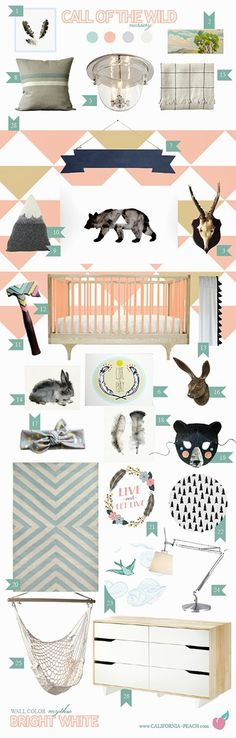 California Peach: Call of the Wild | Nursery - Click to see more color options! -- Girl, Pink, Peach, Mustard, Caravan Crib, Triangles, White, Ikea, Bear, Antlers, Bunny, Feathers, Feather, Hatchet, Outdoors, Wallpaper, Wall Decals, Baby Room, Nursery, Style Board, Mythic Paint, Non-Toxic, Green 0VOC, Eco Friendly, Organic