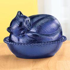 Cobalt Blue Glass Cat Candy Nut Dish Storage Retro Depression Style Kitchen NEW on eBay!