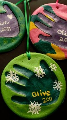 DIY Salt Dough Handprint Ornaments, I love the paint on these!