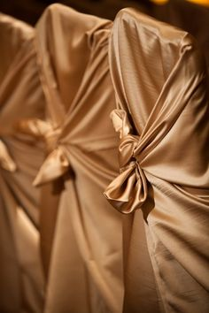 gold tie chair covers