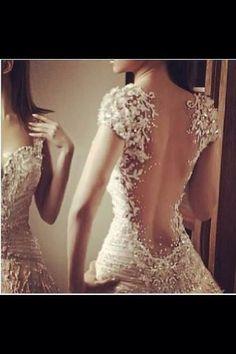 Gorgeous unique wedding dress.