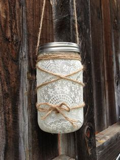 Lace mason jar lantern