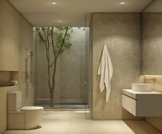 contemporary bathroom #indoor/outdoor I love this bathroom, looks so simple and zen. Would add a bit of colours into it though...