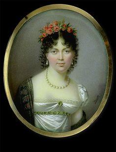 Nicolas François Dun    Lady in White Dress with Black Cashmere Shawl    circa 1810