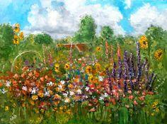 Cottage Garden Summer oil painting original by by NancyvandenBoom, €215.00
