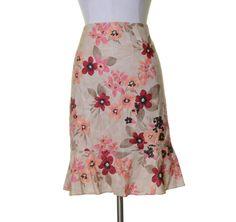 Ann Taylor LOFT Beige Pink Peach Floral Print A-line Silk Cotton Skirt 16 NWT #AnnTaylorLOFT #ALine