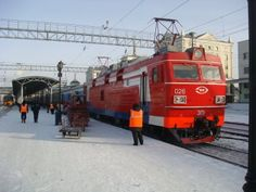 Transsibirische Eisenbahn im Winter, Bahnhof Krasnojarsk