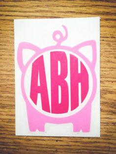 Light Pink & Dark Pink Pig Monogram Vinyl Decal by STICKERFRUIT