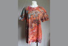 $36 - Tie dye Men's t shirt ice dye Unisex Molten Lava Find this item on https://www.etsy.com/shop/ASPOONFULOFCOLORS?ref=hdr_shop_menu