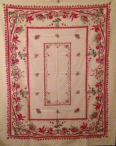 Vintage-Christmas-Tablecloth-Mr-amp-Mrs-Snowman-Santa-039-s-Sleigh-amp-Reindeer
