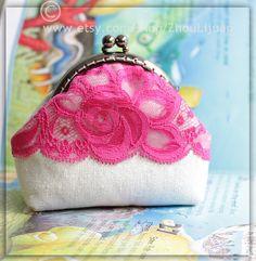 rose lace  frame coin linen cotton  purse  handmade by ZhouLijuan, $20.00