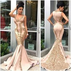 Sexy Gold Appliques Long Formal Evening Dress Mermaid Celebrity Party Prom Gown #Unbranded #Sheath