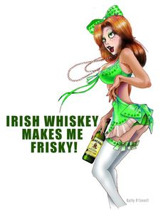 Irish Whiskey Girl Pin up art print or greeting card by Kathy O'Connell/Katdazzle