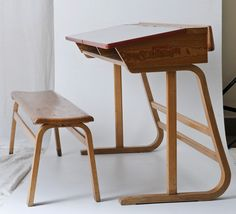 Maria Chomentowska, school tables and chairs for younger children, made by the Furniture Wing of the Industrial Design Institute in Warsaw, collections of the National Museum in Warsaw, photo: Michał Korta Industrial Design Furniture, Metal Furniture, Furniture Design, Painted Wooden Chairs, School Tables, Homemade Tables, Comfortable Living Room Chairs, Wooden Dining Room Chairs, Oversized Chair And Ottoman