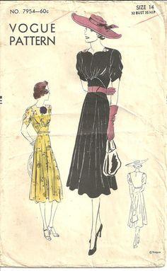 Vogue 7954 Dress Frock sz 14 Vintage 1930s by designersreserve, $100.00
