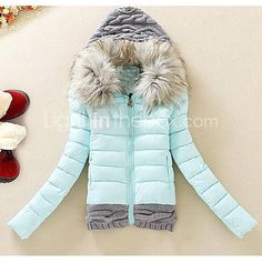 Women's Fur Hooded Short Design Down Jacket Padded Large Fur Collar Plus Size Winter Coat Fashion Outerwear - USD $ 31.05