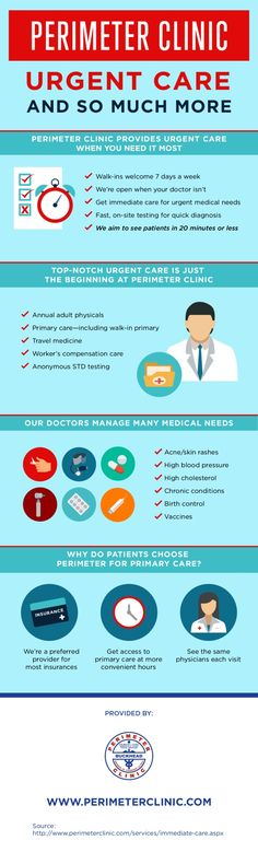 The doctors at Perimeter Clinic meet a plethora of medical needs, from high cholesterol and high blood pressure to skin rashes and birth control. Look at this infographic to learn more about what Perimeter Clinic can offer. # Infographic #data visualization #urgent care #urgent care clinic #std testing #clinic
