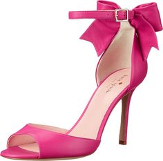 Kate Spade New York Women's Izzie Carousel Pink Nappa Sandal. Walk a mile in these Kate Spade New York® Izzie heels. Leather upper. Adjustable ankle strap with buckle closure. Open-toe design. Leather lining. Lightly padded leather insole. Wrapped heel with leather bow. Wrapped stiletto heel. Leather sole. Made in Italy and Imported. Measurements: Heel Height: 3 1⁄2 in Weight: 7 oz Product measurements were taken using size 9, width M. Please note that measurements may vary by size.