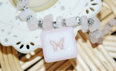 Rose Quartz and Butterfly Pendant Beaded Necklace
