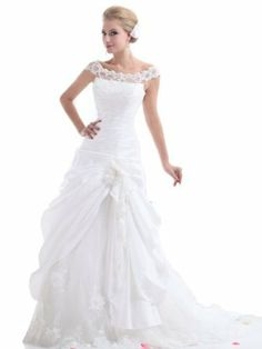 Amazon.com: Landybridal Women's Scoop Chapel Train Drop Waist Taffeta Wedding Dress B12095: Clothing