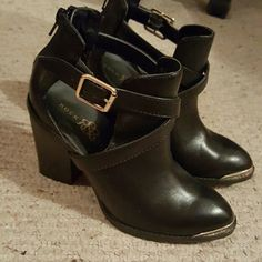 Rock & Republic Boots Black boots with gold toe lining. Worn a few times. Minor scuffs on heels. Rock & Republic Shoes
