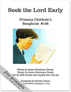 """""""I'll Seek the Lord Early"""" Lyric Chart by A Year of FHE - help your kids learn the song"""